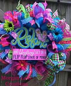 X-Large summer wreath $50 This wreath can be purchased on Etsy or facebook Morgan Lane Creations