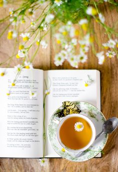 A cup of chamomile, spritz of lemon & squeeze of honey & book of poetry, Rikki Snyder Photography
