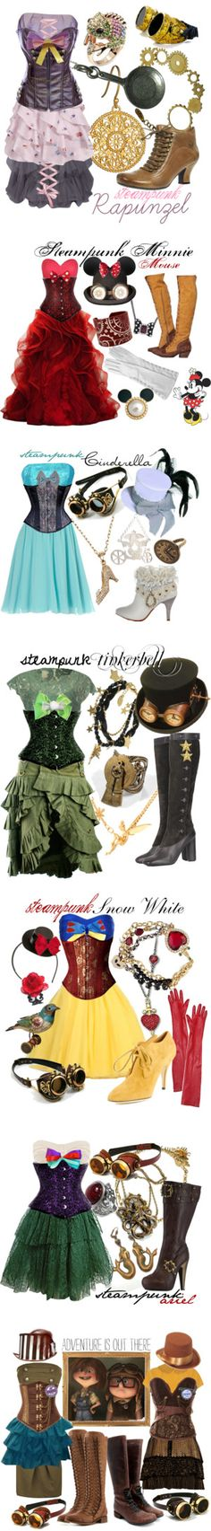 "love love love ""Disney Steampunk""--this Disney Steampunk is AWESOME.my fave, I think LOL, is steampunk Minnie. Disney Inspired Outfits, Disney Outfits, Disney Style, Cute Outfits, Disney Fashion, Disney Clothes, Themed Outfits, Style Steampunk, Steampunk Outfits"