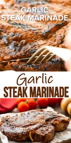 Garlic Steak Marinade is an easy marinade recipe that leaves your grilled steaks juicy, tender and with an amazing garlic flavor! Meat Marinade, Steak Marinade Recipes, Grilled Steak Recipes, Grilling Recipes, Beef Recipes, Cooking Recipes, Steak Marinade Quick, Flank Steak Marinades, Steak Tenderizer Marinade