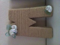 Yarn and cardboard initial, decorated with shells and seaglass for girls mermaid room