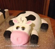 Homemade 21st Cow Birthday Cake: My brothers nickname is Matty Moo so for his 21st Birthday we made him a cow cake! It was really simply, the cow was really easy and looked great. The