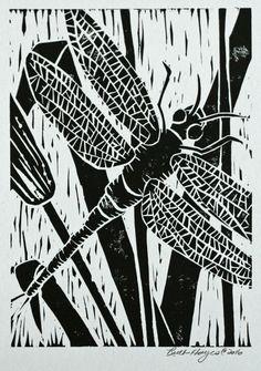 Linograbado original de impresión 5 x 7 negro libélula con alas insectos arte sfa impresión de bloque de totora