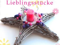 Edler Lila-Pink-dekorierter XXL Weidenstern