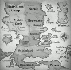 Fantasy map. I want to go to Camp Half-Blood, Narnia, Hogwarts, Middle Earth, Where the wild things Are, Terabithia, Neverland, Wonderland, Dreamland, Panem, and Land of the Lost!
