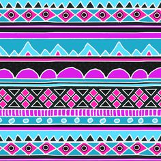 Hot Pink and Bright Blue Aztec Tribal Pattern fabric by inspirationz on Spoonflower - custom fabric