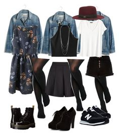"""Denim & black tights"" by katrinaschmitt ❤ liked on Polyvore featuring Madewell, WithChic, ASOS, Dr. Martens, Miss Selfridge, New Look, River Island, H&M, Nine West and New Balance"