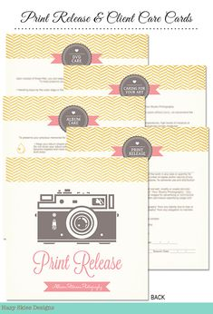 Care Cards and Print Release for Photographers
