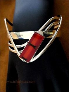 Tribal Muse, Tribal and Ethnic jewelry. Red Coral and Sterling Silver Designer Cuff