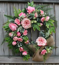 Pink Rose and Fern XXL Spring Wreath, Easter by IrishGirlsWreaths, $129.99