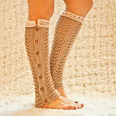Knitting Pattern (pdf file) Instant Download - Knit Lace Leg Warmers