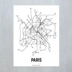 A modern graphic interpretation of the Paris transit system. Original artwork based on map of the Metro and RER railroad.Standard size for easy and affordable framing. Available as a black & white lithograph or color screen print. Made in Brooklyn, NY. PLEASE NOTE: Orders typically process in 1-3 business days. Those with finishing options may take 5-7 business days.