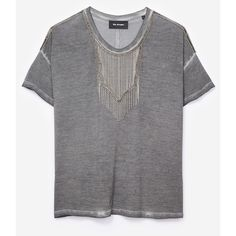 T-shirt viscose gris dévoré plastron bijou via Polyvore featuring tops, t-shirts, rayon tops, rayon t shirts, transparent top, transparent t shirt and see through tops