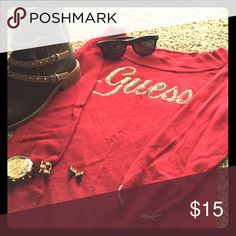 Long sleeved, red, Guess shirt. I've only worn it once to a nice dinner. Perfect condition! NWOT! Perfect for the fall weather coming up! Like,comment, & share! Guess Tops Tees - Long Sleeve