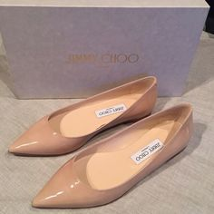 Jimmy Choo Alina Nude Pointy Toe Flats Amazing, chic & sleek pointy-toe flats by Jimmy Choo in Nude patent leather. These beauties would make the perfect wedding flats to change into, or would definitely be an easy closet staple. 100% authentic, purchased at Nordstrom. Comes with original box, no dust bag. Brand new, never worn. Jimmy Choo Shoes Flats & Loafers