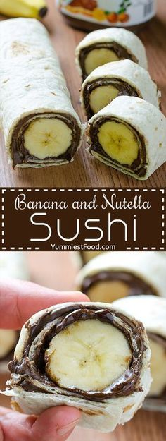 Kids Meals Banana and Nutella Sushi - Easy and healthy snack. Kids will love this Banana and Nutella Sushi. - Banana and Nutella Sushi - Delicious, cute, easy and quick! Easy and healthy snack! Kids will love this Banana and Nutella Sushi! Yummy Snacks, Yummy Food, Nutella Snacks, Healthy Nutella Recipes, Cute Snacks, Nutella Deserts, Easy Delicious Desserts, Healthy Cheesecake, Food Deserts