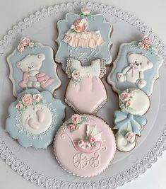 Baby Cookies, Baby Shower Cookies, Iced Cookies, Sugar Cookies, Shower Set, Color Pallets, Soft Colors, Cookie Decorating, Food Art