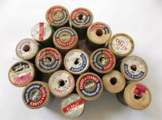 Lot of 17Vintage Wooden Spools Sewing Thread Spools by LRFoxDesign, $14.00