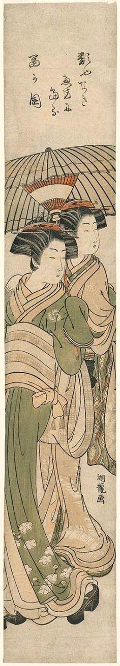 Koryusai Isoda / Zwei Geishas unter Schirm