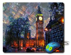 Big Ben Tower Mouse Pad Computer Mousepad London Art Painting Big ben gift London painting Best Mouse Pad Artistic Painting Best mouse mat