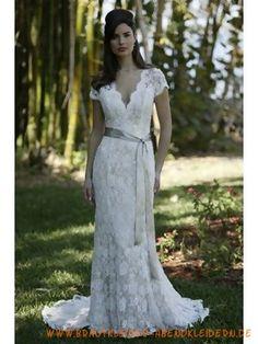 V-Ausschnitt Spitze Bodenlanges Brautkleid