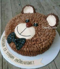 Special Birthday Cakes, Baby Birthday Cakes, Bear Birthday, Cake Decorating Designs, Cake Decorating Techniques, Doraemon Cake, Dad Cake, Teddy Bear Cakes, Cake Shapes