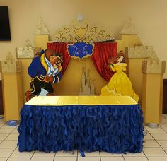Beauty and the beast cake table decour beauty & the beast party кра Beauty And Beast Birthday, Beauty And The Beast Theme, Beauty And The Best, 6th Birthday Parties, Birthday Party Decorations, Party Themes, Party Ideas, Disney Princess Party, Princess Birthday