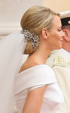 Her Serene Highness Charlene Wittstock. This 19th century hairpiece once belonged to Prince Albert's Grandmother.