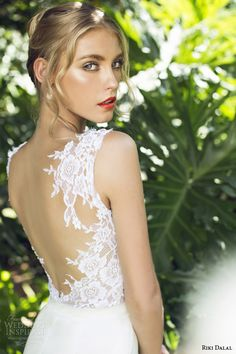 riki dalal 2015 provence sleeveless wedding dress style 1502 back view close up lace detail