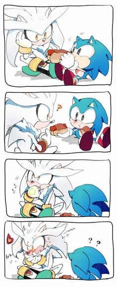 Sonic: Here silver want a bite? Silver: -takes a bite- Waaaah!!! its spicy! my mouth is on fire! .