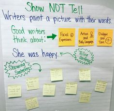 Show not tell anchor chart to use during writing workshop. This has 3 simple steps students can follow. Students can also writing a showing sentence on a sticky note to put on the anchor chart.