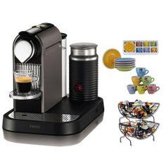 Nespresso Citiz C120 Espresso Maker w/ Aeroccino Milk Frother in Titanium + Set of 6 Espresso Cups  Saucers Tri Color + Single Serve Coffee Baskets - http://nespressoshop.net/nespresso-citiz-c120-espresso-maker-w-aeroccino-milk-frother-in-titanium-set-of-6-espresso-cups-saucers-tri-color-single-serve-coffee-baskets