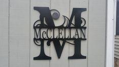 Family Name Sign22 Metal Monogram Door Hanger by 4PhaseFabrication