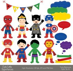 Would be so cute to cut out & string across as bunting for toddler comic room! - Digital clipart - Cute little Superheroes for Scrapbooking, Paper crafts, Cards Making,Invitations,Web Designs
