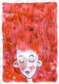 Sirena dai capelli rossi e stelle dorate*** Il mare mi ha sempre rilassato. Mi piace vedere i capelli fluttuare nell'acqua limpida e cristallina. Forse queste immagini mi hanno ispirato per realizzare questa illustrazione. La protagonista è una sirena. Ha i capelli rossi e fluttuanti nell'acqua. Tra di essi ci sono molte stelline dorate, realizzate con la foglia d'oro.  Illustrazione realizzata con la tecnica dell'acquerello su carta e foglia d'oro per le stelline.