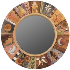 Sticks creates this artistic one-of-a-kind mirror, constructed of hard wood. Hand drawn whimsical designs are burnt in, and then painted. * Size: x x * Signed, Dated Anything you c Mirror Mosaic, Mosaic Art, Hand Painted Furniture, Paint Furniture, Sticks Furniture, Nature Color Palette, Artistic Installation, Art Pieces, How To Draw Hands
