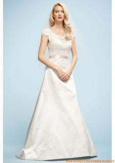 Schlichtes Brautkleid A-Linie 2013 aus Satin mit Spitze