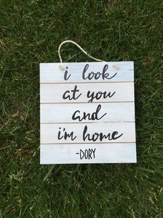 "rustic wood sign, finding dory sign, finding nemo sign, i look at you and im home, wood sign, painted wood sign, rustic home decor, nursery Wood wedding handpainted sign I look at you and I'm home 20x5 inches Photo features black text on white wash wood Reclaimed pallet wood Wood handpainted sign ""I look at you and I'm home"" ⢠Hand painted in Rhode Island ⢠Authentic reclaimed distressed wood â... *** Get more details by clicking on the image #HomeDecor"