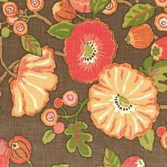 Red & Orange Modern Floral Fabric | Poppy Love : Sunset | Loom Decor