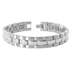 "Stainless Steel Two Tone Silver Finish 10mm Wide Mens Magnetic Link Bracelet 8.5 inch Gem Avenue. $19.99. Silver Tone Polished and Matte Finish. Gem Avenue sku # JBMS034. 10mm Width. 8.5"" Long. Stainless Steel Link Bracelet. Save 57%!"