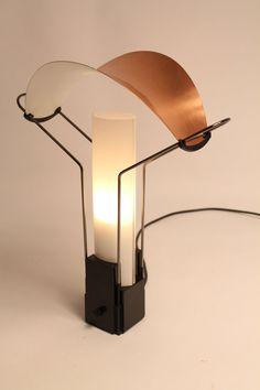 ARTELUCE PALIO table lamp Italia 1985 copper plated aluminium and glass