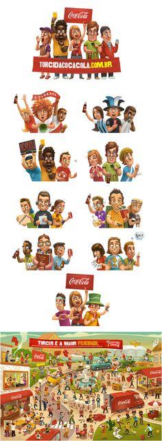 Coca-Cola бразильская кампания для футбольных фанов, Иллюстрация © АндрейГордеев
