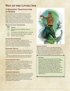 Post with 849 views. Way of the Living Ink Dungeons And Dragons Races, Dungeons And Dragons Classes, Dungeons And Dragons Homebrew, Dungeons And Dragons Characters, Dnd Characters, Female Characters, Character Concept, Character Design, Character Sheet