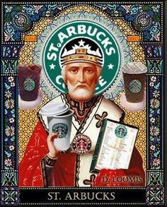 St Arbucks...  this may be a little bit off color due to their stance on gay marriage, but this gave me an idea for a bulletin board for my classroom re:saints