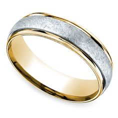 Two Toned Swirl Men's Wedding Ring in Platinum & Yellow Gold