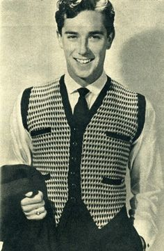 I want a vest like his:  1940 s mens knit fashion young man s fancy double 1950s Mens Fashion