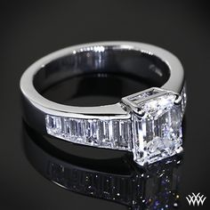 Custom Emerald and Baguette Diamond Engagement Ring | 37601 This is my ring! Then simple wedding band.
