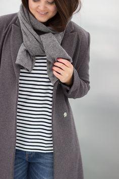 "Livin up a notch: ""New long grey wool coat & stripes"""
