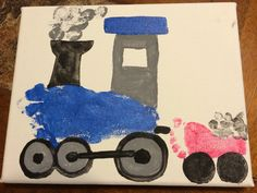 Choo choo train made from footprints and thumbprints