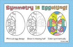 Printable Easter eggs with line symmetry, 10 different designs to draw and color with two levels of difficulty. Aligned with the Common Core State Standard for 4th grade geometry: 4.G.3 (line symmetry)